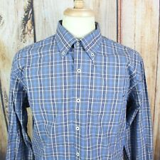 Peter Millar Men's Shirt Large Button Down Collar Blue Gray Madras Plaid L/S