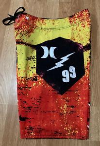 "Rare Yellow & Orange ""99 Tribute"" Lightning Shield Hurley Phantom Board Shorts"