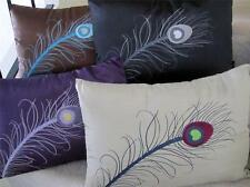 Cushion + Insert: Peacock Feather Embroidered Decorative Bird Pillow Sofa Throw