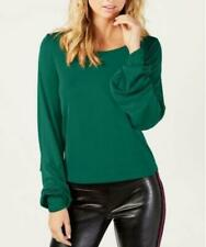 Inc Womens Green Balloon Sleeve Scoop Neck Shirt Blouse Top M BHFO 1375