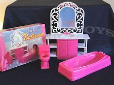 GLORIA DOLLHOUSE FURNITURE BATHROOM w/Tub Mirror & Sink PLAYSET(94013)