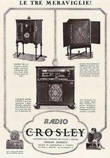 PUBBLICITA' 1925 RADIO CROSLEY 825 FONOGRAFO CAPEHART MODELLI VIGNATTI MENOTTI