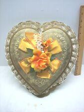 Vintage Brachs Gold Heart Shape Lace Trim Candy Box Flower & Ribbon Front