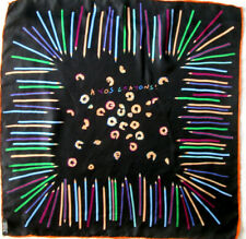 "-""A VOS CRAYONS"" Foulard soie TBEG  vintage scarf  53 x 53 cm"