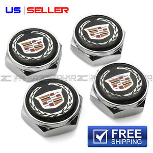 LICENSE PLATE BOLTS SCREWS FRAME CAPS CHROME FOR CADILLAC - US SELLER