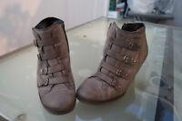 PAUL GREEN Damen Schuhe Pumps High Heels Stiefelette Gr.5,5/ 38,5 grau Leder TOP