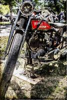 12x18 in. Hot Rod Poster, Vintage Harley Davidson Motorcycle Garage Art Man Cave