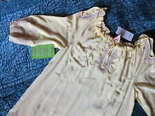 Tracy Reece PLENTY embroidery SILK sun casual party  DRESS size L 10-12 yellow