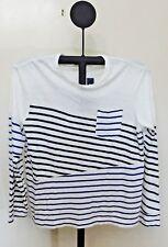 Polo Ralph Lauren White Stripe Men's Custom Long Sleeve T Shirt - Large