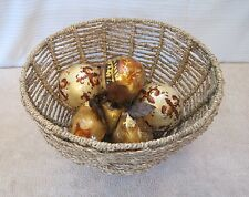 Decorative Wicker Basket Table Top Arrangement w/Art Apple Pear Fruit Pcs/Balls