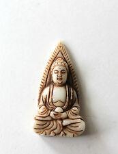 Hand Carved Chinese White Jade Buddha Figure Pendant Amulet