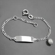 Baby Taufe Kinder ID Armband + Namen Gravur Echt Silber 925 Süßwasserzucht Perle