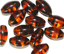Tortoise Oval Czech Pressed Glass Beads 16x9mm    (pack of 12)