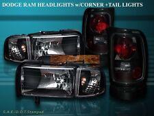 1994-2001 Dodge Ram 1500 / 94-02 2500/3500 Black Headlights+Corner + Tail Lights