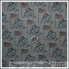 BonEful Fabric FQ Cotton Quilt Colonial Folk Art American Flag Sheep Star Flower