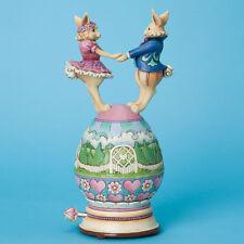 Jim Shore Musical Easter Bunnies Dancing on Easter Egg Figurine ~ 4037679