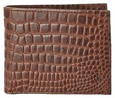 BNIB! COLE HAAN Men's Greenwich Slim Bilfold Wallet - Chestnut Crocodile Print
