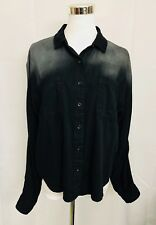 BDG Urban Outfitters Shirt Black Gray Ombre Cotton Button Front Top size Medium