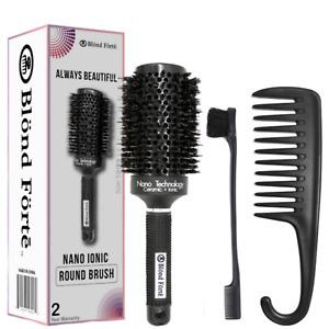 Round Ionic Ceramic Boar Bristle Brush + Detangling Comb & Edge Brush - 2.1 Inch