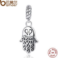 Bamoer Solid S925 Sterling Silver Charms Palm Pendant Fit Bracelets Jewelry hot