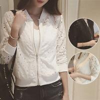 Women Lady Slim Suit Blazer Coat Lace Crochet Jacket Cardigan Blouse Outwear M/L