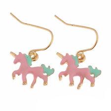 1pair unicorn earrings,3D unicorn pendant ear rings,Cute earrings,Pink color