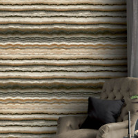 Wallpaper faux Layered Mineral Rock stone gray brown white brass wallcovering 3D