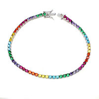 Round Multi-Color Cubic Zirconia 2.5mm 925 Sterling Silver Bracelet 7.5 Inches
