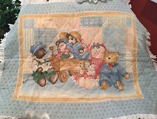 New listing Raggedy Ann Teddy Bear Rag Doll Wagon Baby Nursery Homemade Quilt w/ Ruffle