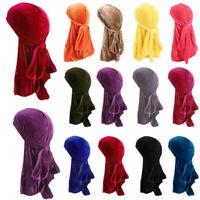 1X VELVET DURAG MEN'S PREMIUM CAP STRETCH SATIN RAG WRAP BANDANA HATS 12 COLORS