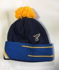 St Louis Blues Knit Beanie Toque Winter Hat Cap NHL NEW Big Logo Cuffed Pom