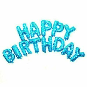 """16"""" BLUE & STARS SELF INFLATING HELIUM LETTER HAPPY BIRTHDAY BALLOON PARTY DECOR"""