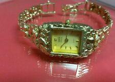 14k solid yellow gold nugget watch