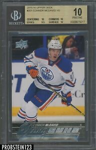 2015-16 Upper Deck UD Young Guns Hockey #201 Connor McDavid RC Rookie BGS 10