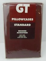 GT Pair Pillowcases Standard Size Chocolate Brushed Microfiber Wrinkle Free