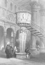 Sicily, MESSINA CATHEDRAL CHURCH DUOMO PULPIT ~ Antique 1841 Art Print Engraving