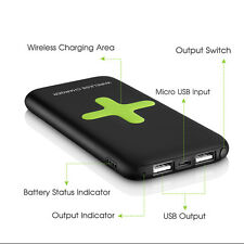 2in 1 7000mAh Power Bank Qi Wireless Charger Docking Station Holder For iPhone 6