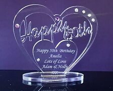 Personalised 50th Birthday Gift Heart with message -  Freestanding Keepsake