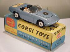 """Corgi no: 318 """"Lotus Elan S2 Convertible"""" - Luz Azul (en Caja/Original Década de 1960)"""