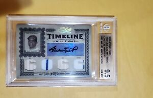 2005 Willie Mays Playoff Prime Cuts Timeline Auto BGS 9.5 Gem Mint Giants /50