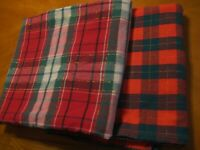 lot 2 Christmas Farmhouse Rustic Country style Plaid tablecloths assorted size