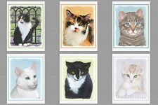 6 Assorted Kitten Cat Blank Note Greeting Cards Tuxedo Calico Yellow Tabby White