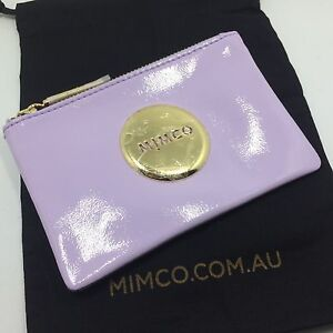 BNWT MIMCO SMALL MIM POUCH WALLET patent Amethyst GOLD plating RRP69.95