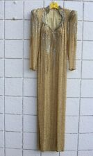 Vintage 80s Lillie Rubin Beaded Silk Long Gold Silver Cocktail Party Dress S M
