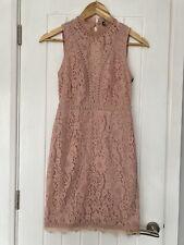 Mini Vestido nuevo prettylittlething @ Asos Rosa Encaje sin espalda ♡ tamaño 8 ♡ PLT para Mujer