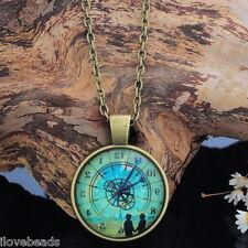 Bronze Tone Reverse Clock Pattern Glass Dome Pendant Necklace Retro Unique Chic