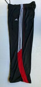 Adidas WarmUp Basketball Pants Mens Large Black Red White Stripes Ankle Cinch