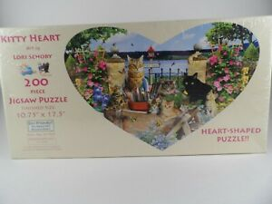NEW Kitty Heart Shaped Jigsaw Puzzle 200pc Factory Sealed Sunsout Inc. 81909