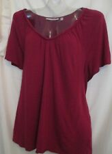 Sejour Braided V-neck SS Knit peasant top in deep wine sz 1X MSRP $68