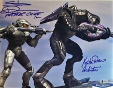 Steve Downes Keith David MASTER CHIEF ARBITER SIGNED 11x14 Photo BECKETT BAS COA